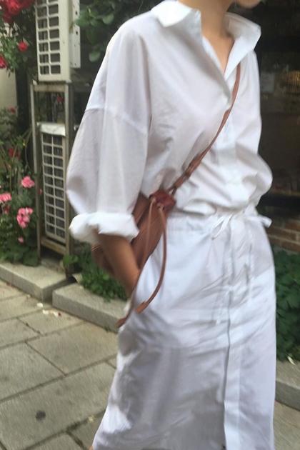 簡約收腰綁帶開釦襯衫洋裝*白