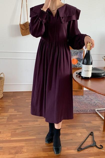 法式雙層娃娃領綁帶洋裝*3色