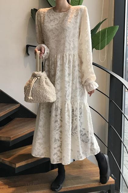 法式重工蕾絲透印抓摺袖洋裝*2色