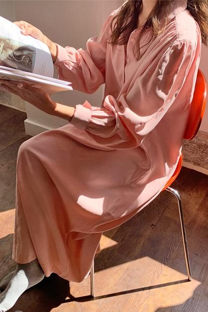 復古色調腰綁帶襯衫洋裝*2色