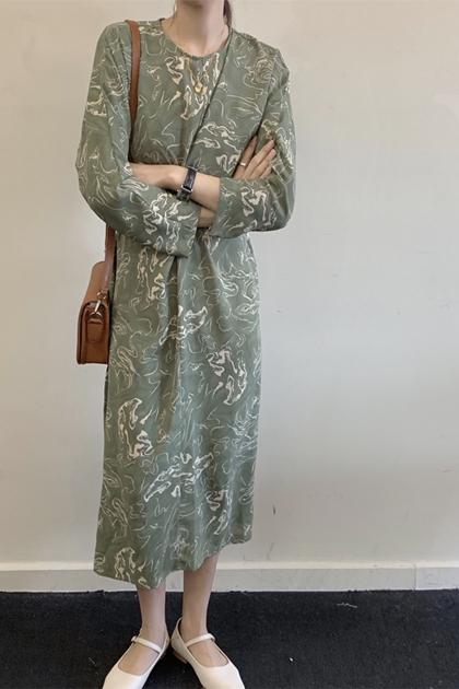 法式復古暈染印花交叉收腰綁帶洋裝*綠