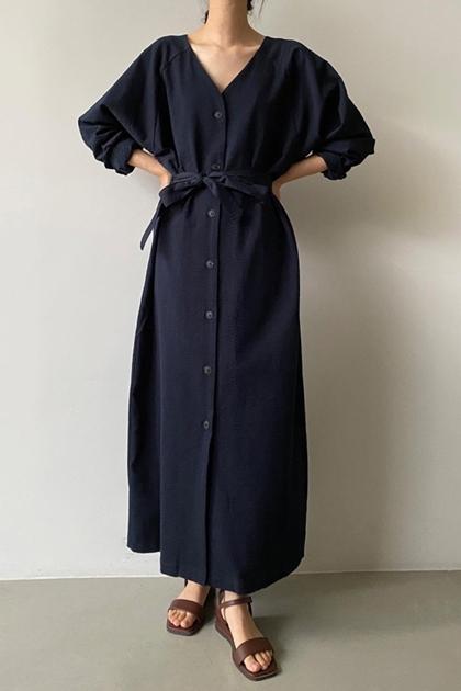 法式優雅純色V領綁帶襯衫洋裝*2色