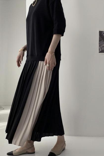 拼色裙襬大學T百摺洋裝*3色
