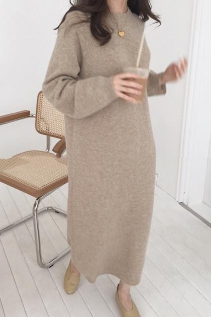 慵懶加長針織毛線洋裝*4色