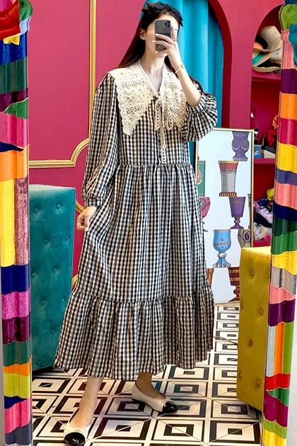 法式縷空蕾絲花邊領格紋洋裝*2色