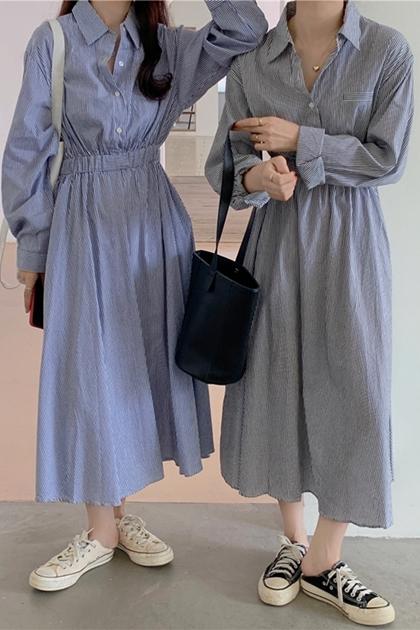 簡約文青條紋收腰襯衫洋裝*2色