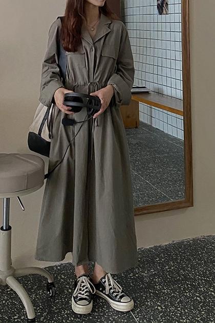 復古綁帶收腰工作服洋裝*2色