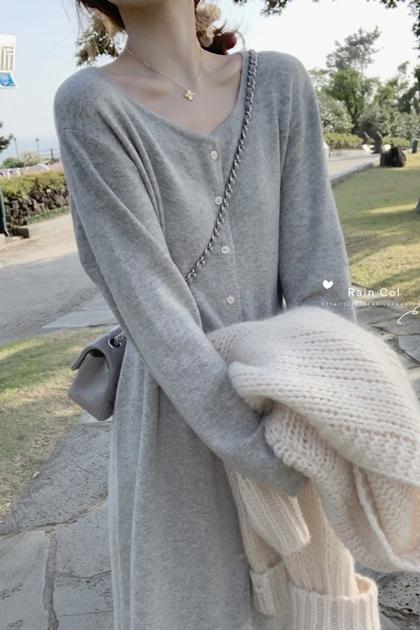 羊絨混針織開釦收腰洋裝*3色