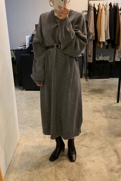 寬鬆落肩袖針織毛衣洋裝+腰帶*2色