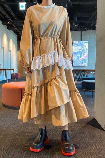 復古荷葉領不規則拼接洋裝*2色