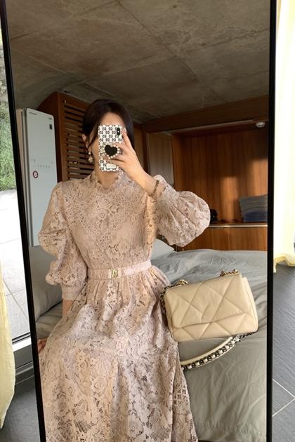 氣質名媛設計立領重工蕾絲收腰洋裝*2色