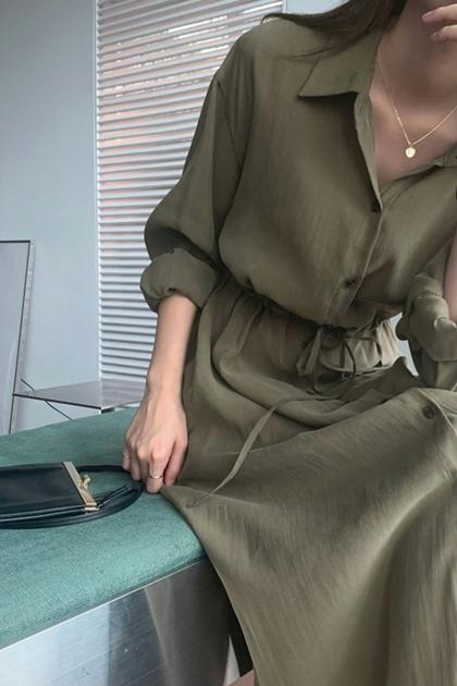 顯瘦收腰加長襯衫洋裝