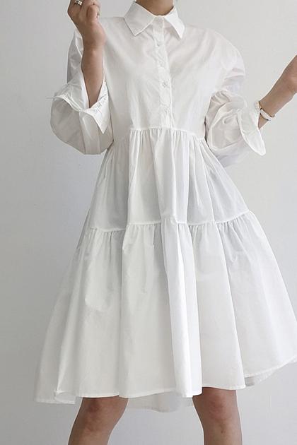 長袖翻領襯衫式洋裝*2色