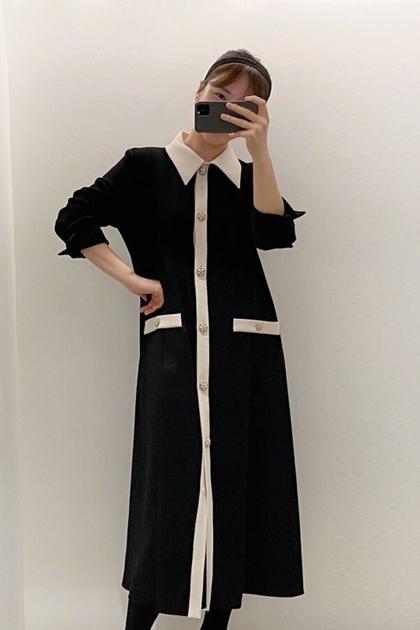 法式小香風氣質配色開釦長袖連身洋裝*2色