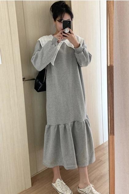 法式蕾絲花邊大翻領拼接長版衛衣洋裝*2色