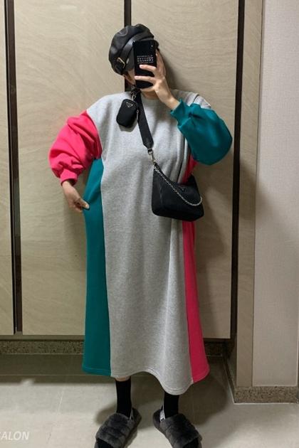減齡撞色拼接刷毛衛衣長袖洋裝*2色
