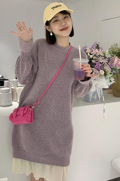 雪紡拼接毛衣連衣裙長袖中長款洋裝*3色