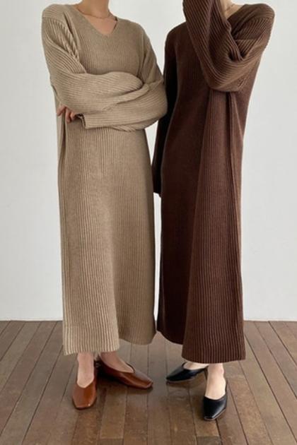V領坑條針織毛衣洋裝*4色