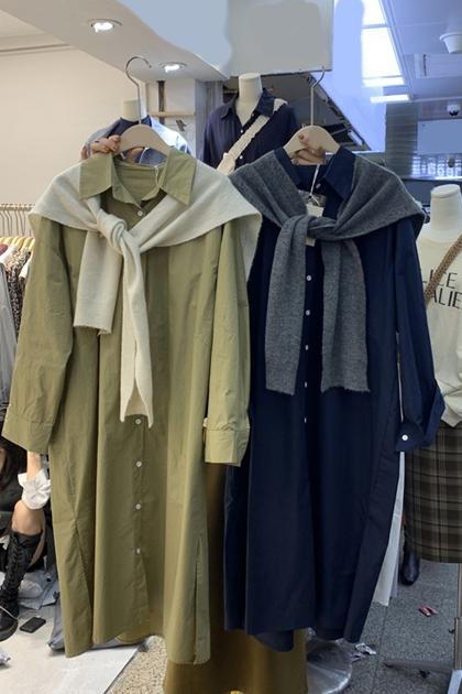 時尚寬鬆長袖單排扣開岔襯衫洋裝*5色
