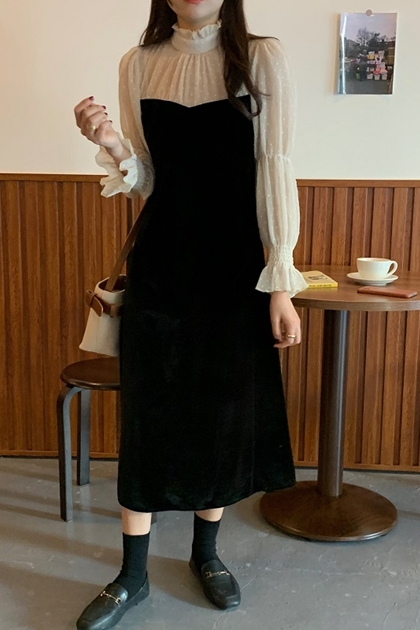 法式優雅立領皺摺圓點拼接網紗洋裝