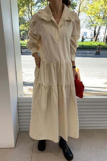 復古荷葉娃娃領泡泡袖洋裝*2色