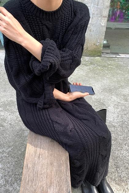 慵懶風加長麻花針織毛衣洋裝*2色