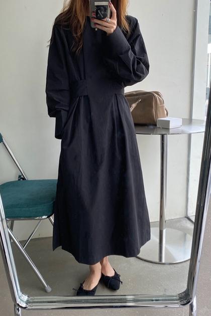 法式兩側收腰後綁帶洋裝*3色