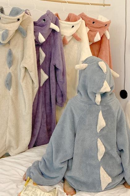 珊瑚絨睡衣長款睡裙可愛連帽睡袍*5色