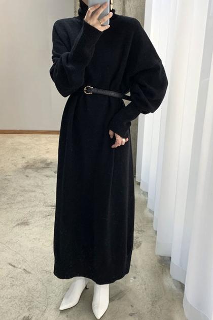 加長高領針織毛衣洋裝*2色