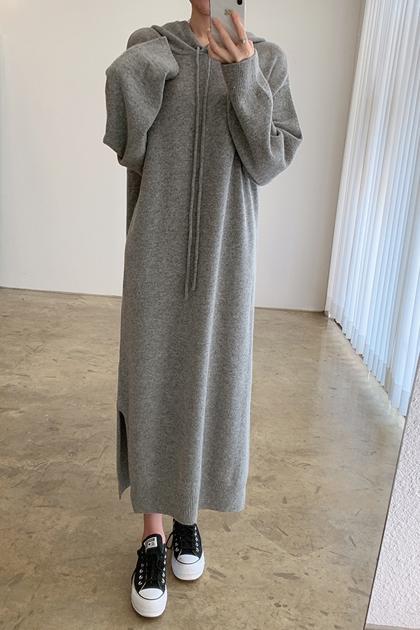 慵懶純色連帽鉤織長袖毛衣洋裝*3色
