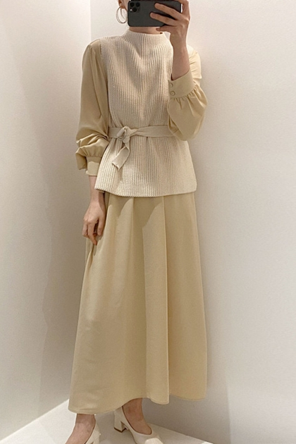 針織背心+燈籠袖洋裝*2色