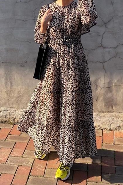 復古豹紋顯瘦氣質收腰洋裝