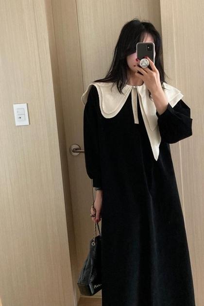 設計感配色不對稱領洋裝*2色