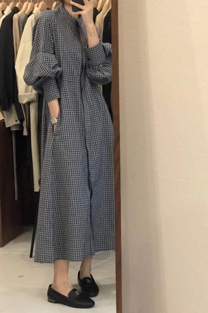 復古格紋澎澎袖洋裝