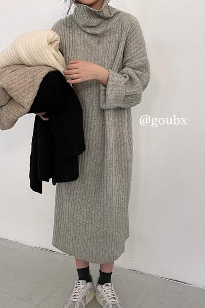 慵懶坑條針織毛衣洋裝*4色