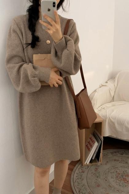 寬鬆慵懶針織毛衣泡泡袖洋裝*3色