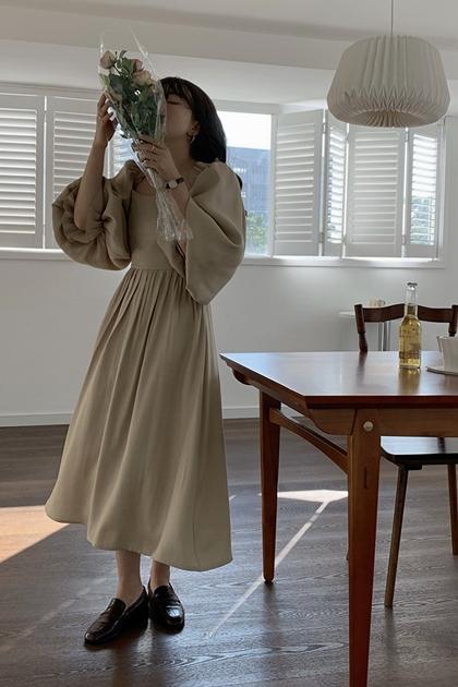 優雅方領後綁帶洋裝*2色