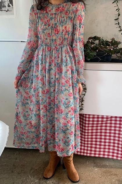 法式浪漫碎花泡泡袖洋裝