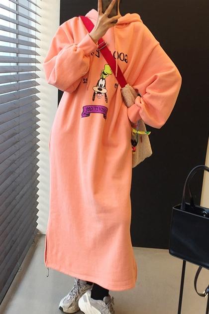 減齡童趣卡通高飛狗加絨連帽洋裝*2色