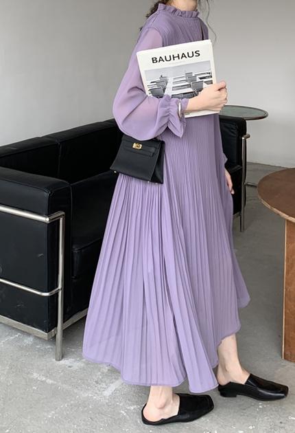 溫柔紫系壓摺裙擺洋裝