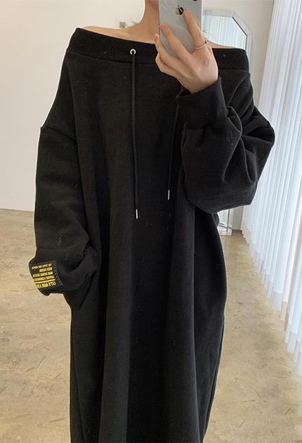 性感露肩刷毛衛衣洋裝*4色