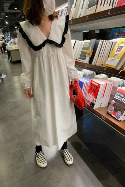 赫本風復古荷葉邊配色洋裝*2色
