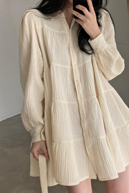 甜美娃娃裙褶皺寬鬆短裙長袖洋裝*2色