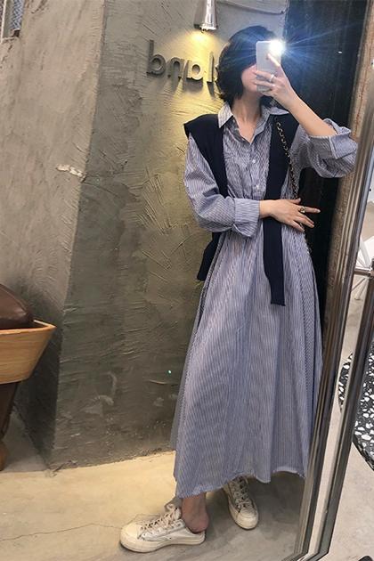 法式復古條紋開釦傘裙襯衫洋裝*2色