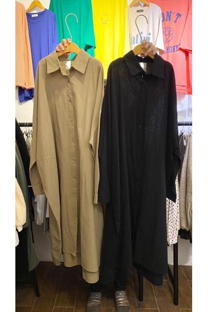 正韓韓國製棉麻開釦襯衫洋裝*2色