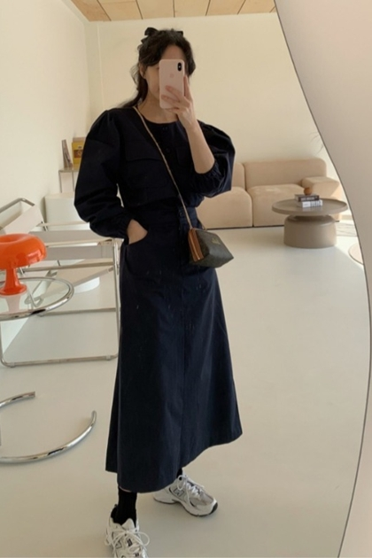 復古收腰工作服洋裝*2色
