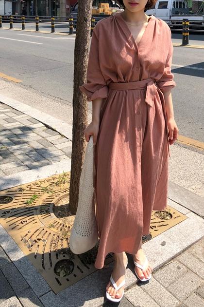 慵懶V領開釦腰綁帶洋裝罩衫外套*2色2
