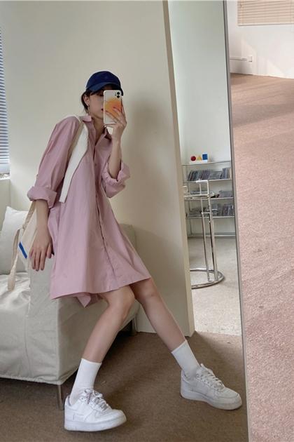 純色寬鬆感長版襯衫洋裝*2色