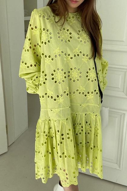 透肌縷空雕花蕾絲洋裝*2色