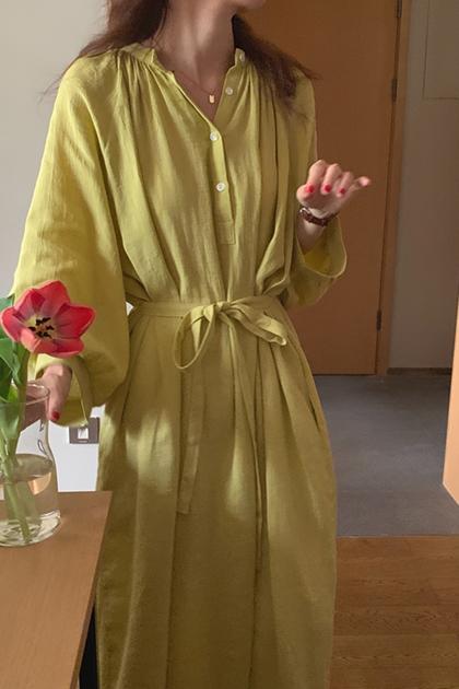 簡約腰綁帶排釦洋裝